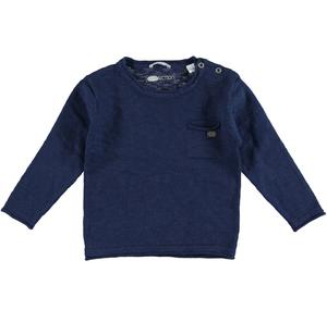100% cotton boy sweater with raw cut edges BLUE