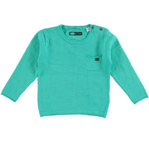100% cotton boy sweater with raw cut edges GREEN