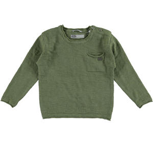 100% cotton boy sweater with raw cut edges RED