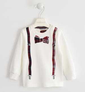 Crewneck t-shirt made of 100% cotton with thermo-welded print of suspenders and bow ties CREAM