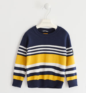 Sweater in winter tricot with a striped pattern YELLOW