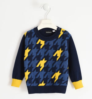 Sweater with maxi pied de poule for boy BLUE