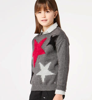 Tricot sweater with fur effect stars GREY