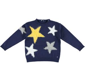 Tricot sweater with fur effect stars BLUE