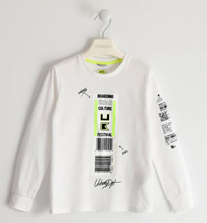 100% cotton crewneck sweater with barcode