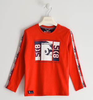100% cotton crew neck sweater with skateboard RED