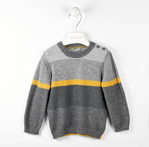 Round neck sweater with melange pattern GREY