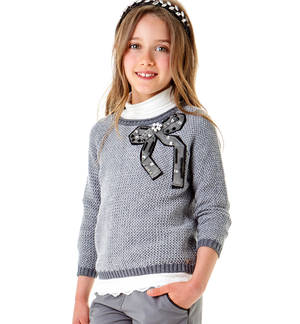 Crew neck sweater with jewel stones ribbon GREY
