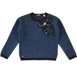 Crew neck sweater with jewel stones ribbon BLACK