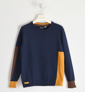 Round neck sweater with contrasting inserts BLUE