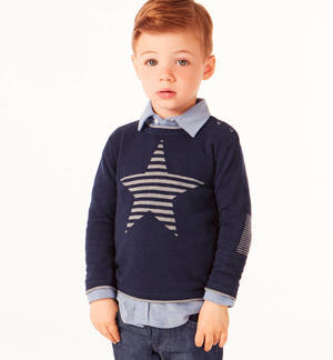 Round neck sweater with striped star  BLUE