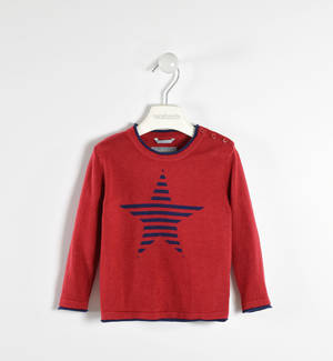 Round neck sweater with striped star  RED