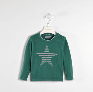 Round neck sweater with striped star  GREEN