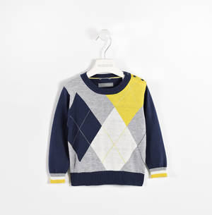 Round neck sweater with geometric pattern  YELLOW
