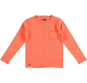 100% cotton knit round neck sweater ORANGE