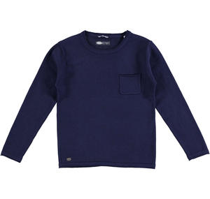 100% cotton knit round neck sweater BLUE