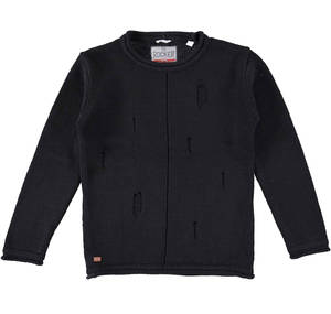 Sarabanda 100% cotton crew neck knitwear for boys  BLACK