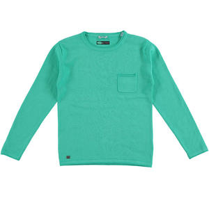 100% cotton knit round neck sweater GREEN