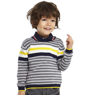 Round neck tricot sweater with stripes  GREY