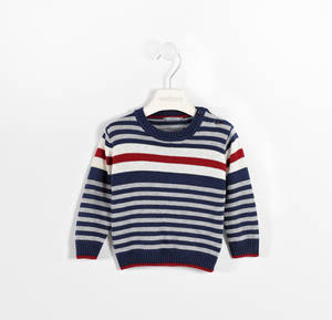 Round neck tricot sweater with stripes  BLUE