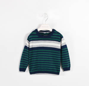 Round neck tricot sweater with stripes  GREEN