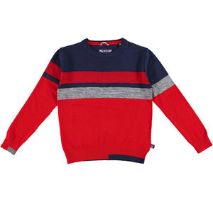 Tricot round neck sweater with stripes and patches  RED