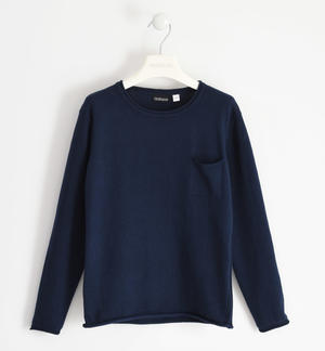 Cotton tricot round neck sweater with pocket for boy BLUE