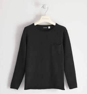 Cotton tricot round neck sweater with pocket for boy BLACK