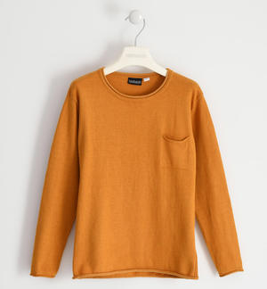 Cotton tricot round neck sweater with pocket for boy YELLOW