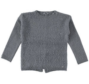 Crew neck sweater in knit faux fur effect fabric  GREY