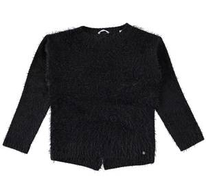 Crew neck sweater in knit faux fur effect fabric  BLACK