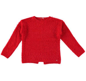 Crew neck sweater in knit faux fur effect fabric  RED