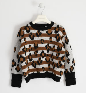 Round neck sweater in animal print tricot CREAM