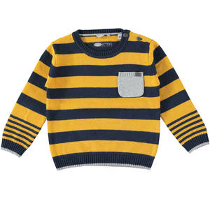 Stripy knitted crew-neck jumper  YELLOW
