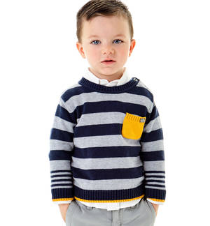 Stripy knitted crew-neck jumper  BLUE