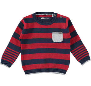 Stripy knitted crew-neck jumper  RED