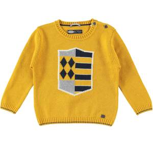 Knitted crew-neck jumper with shield YELLOW