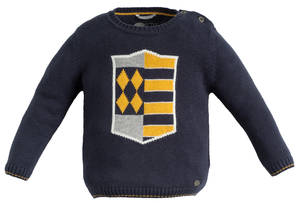 Knitted crew-neck jumper with shield BLUE
