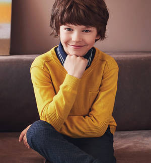 Cotton/cashmere crew neck knitwear for boys aged 6-16  YELLOW
