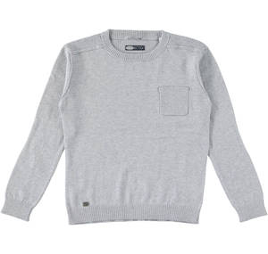 Cotton/cashmere crew neck knitwear for boys aged 6-16  GREY
