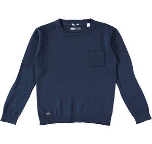 Cotton/cashmere crew neck knitwear for boys aged 6-16  BLUE