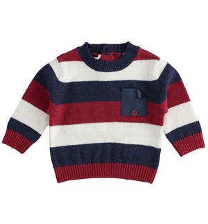 Newborn boy crew neck sweater in striped tricot
