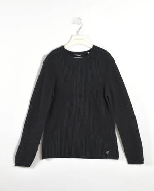 Solid-coloured round neck sweater   BLACK