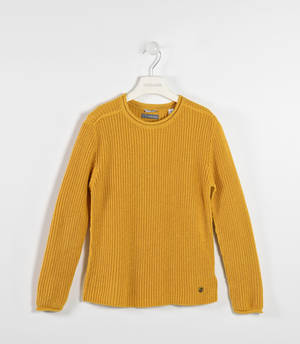 Solid-coloured round neck sweater   YELLOW