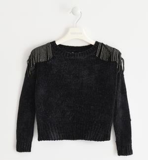Sweater made of chenille with small studs BLACK