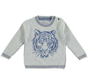 100% cotton knit sweater with a tiger printed GREY