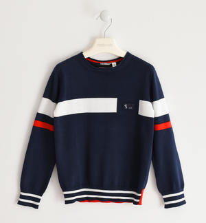 100% cotton knit crewneck sweater BLUE