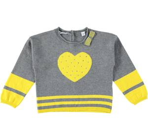 Knitted jumper with heart for girls