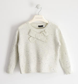 Tricot sweater with micro sequins and maxi bow