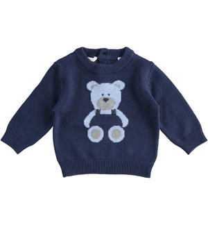 Tricot sweater with teddy bear BLUE